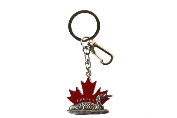 Red MAPLE LEAF With TITLE & DUCK Metal KEYCHAIN With Carabiner Clip