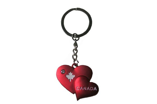 Double HEARTS CANADA & MAPLE LEAF Maroon Metal KEYCHAIN