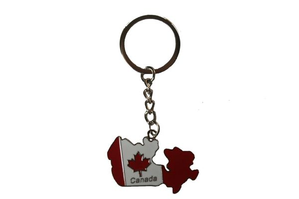 CANADA Flag Country Shape Metal KEYCHAIN