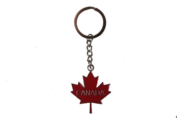 Red MAPLE LEAF With TITLE Metal KEYCHAIN