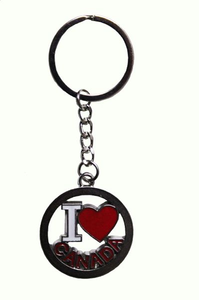 I LOVE CANADA Cut-Out Lettering & HEART Shape Metal KEYCHAIN