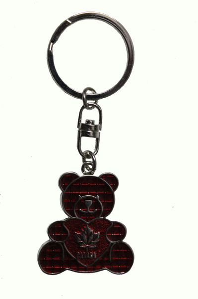 "CANADA RED MAPLE LEAF With HEART - BEAR Shape Metal KEYCHAIN..SIZE: 1 3/8"" x 1 1/2"" Inch"