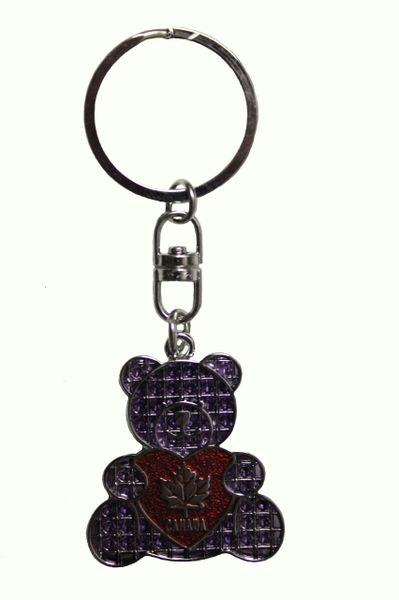 "CANADA PURPLE MAPLE LEAF With HEART - BEAR Shape Metal KEYCHAIN..SIZE: 1 3/8"" x 1 1/2"" Inch"