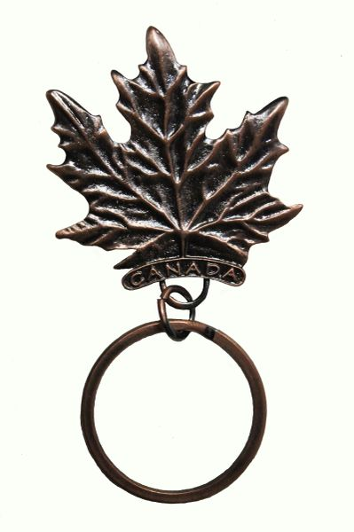 "CANADA MAPLE LEAF With TITLE - Copper EMBOSSED Metal KEYCHAIN..SIZE: 1 3/4"" x 2"" Inch"