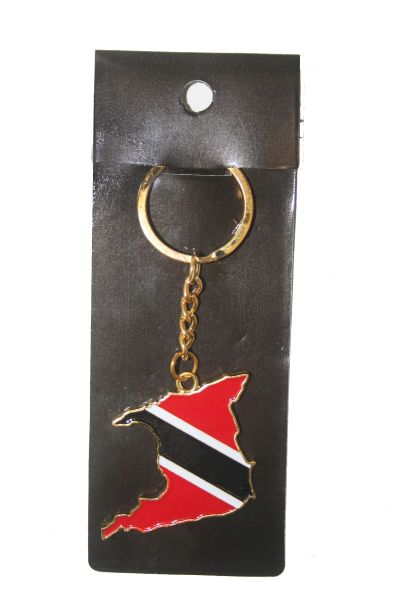 TRINIDAD & TOBAGO COUNTRY SHAPE FLAG METAL KEYCHAIN .. NEW AND IN A PACKAGE