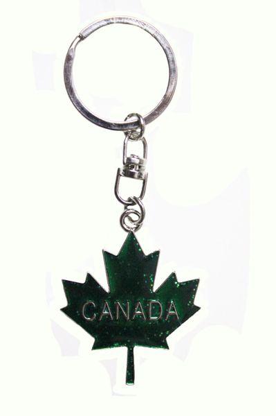 """CANADA GREEN Sparkling Maple Leaf Metal KEYCHAIN..SIZE: 1.5"""" x 1.5"""" Inch"""