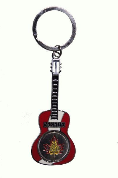 "CANADA GUITAR With MAPLE LEAF Metal KEYCHAIN..SIZE: 3"" x 1.25"" Inch"