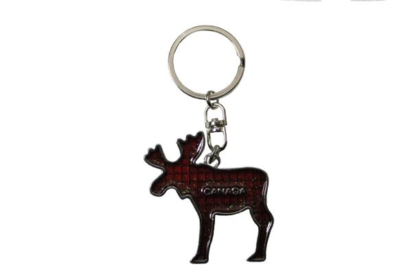 CANADA MOOSE With TITLE RED Metal KEYCHAIN