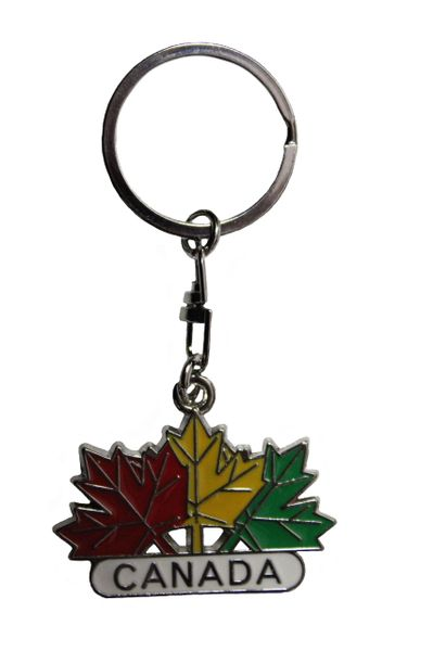 "CANADA - 3 Colored MAPLE LEAVES METAL KEYCHAIN ..Size : 1 3/4"" x 1 1/4"" Inch"