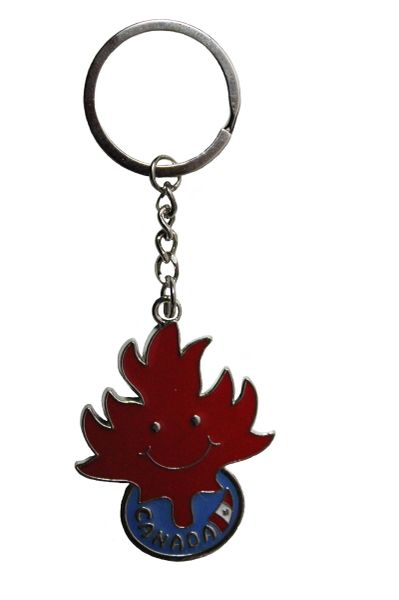 "CANADA Country Flag, SMILEY FACE MAPLE LEAF METAL KEYCHAIN ..Size : 1 5/8"" x 2"" Inch"