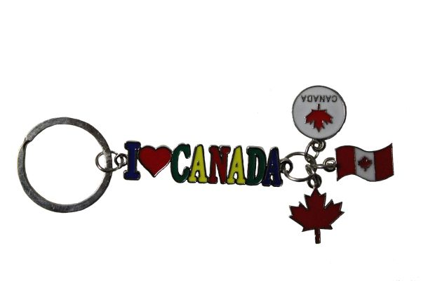 """I LOVE CANADA Cut - Out Lettering & CHARMS METAL KEYCHAIN ..Size : 3 3/4"""" x 2 1/4"""" Inch."""