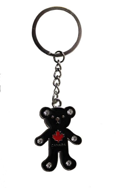 "CANADA Red MAPLE LEAF , BLACK BEAR METAL KEYCHAIN ..Size : 1 1/4"" x 2"" Inch"