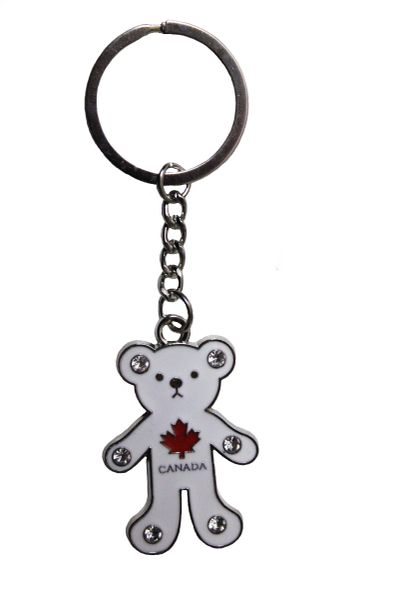 "CANADA Red MAPLE LEAF , WHITE BEAR METAL KEYCHAIN ..Size : 1 1/4"" x 2"" Inch"