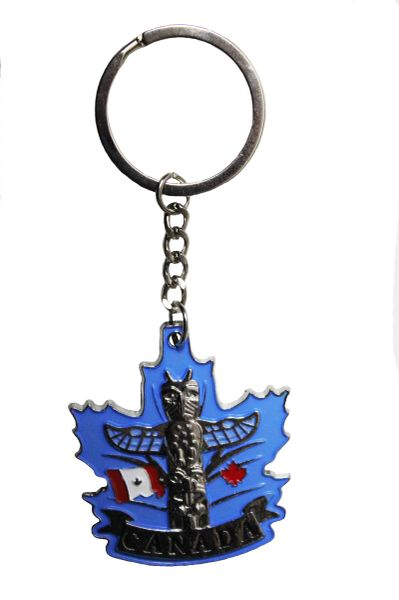 "CANADA Country Flag , TOTEM , Blue Background METAL KEYCHAIN ..Size : 1 5/8"" x 2"" Inch"