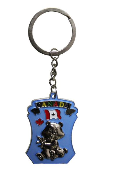 "CANADA Country Flag , BABY BEAR , Blue Background METAL KEYCHAIN ..Size : 1 3/8"" x 2"" Inch"
