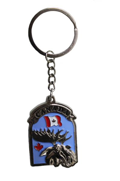 "CANADA Country Flag , MOOSE , Blue Background METAL KEYCHAIN ..Size : 1 1/2"" x 2"" Inch"