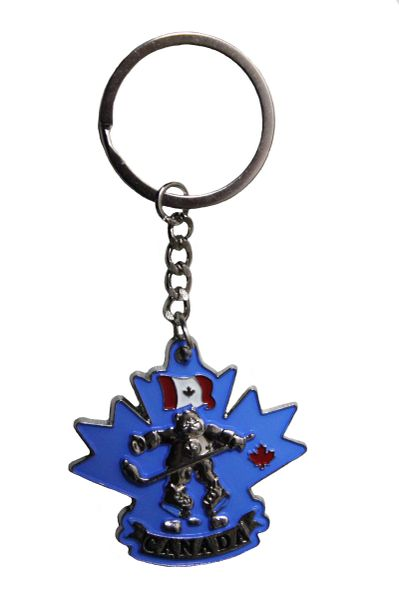 "CANADA Country Flag , BEAR HOCKEY PLAYER , Blue Background METAL KEYCHAIN ..Size : 1 3/4"" x 2"" Inch"