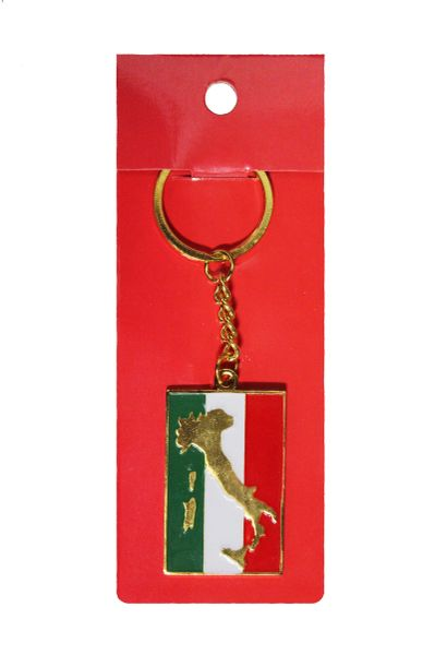 ITALY ITALIA Rectangle Country Flag METAL KEYCHAIN