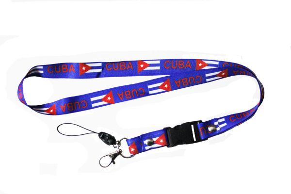 "CUBA Blue Country Flag LANYARD KEYCHAIN PASSHOLDER NECKSTRAP .. CLASP AT THE END .. 20"" INCHES LONG"