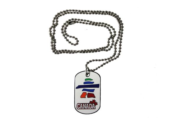 CANADA - MAPLE LEAF , INUSHUK DOG TAG On Ball Chain