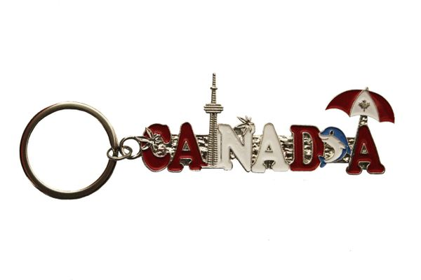 CANADA , CN TOWER , DOLPHIN , UMBRELLA Metal KEYCHAIN