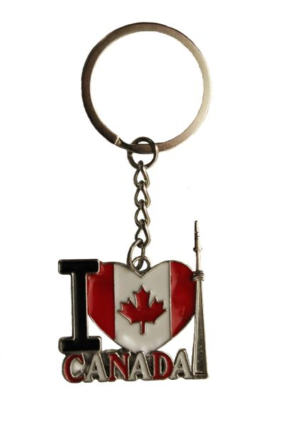 I LOVE CANADA , Country Flag In Heart Shape Metal KEYCHAIN