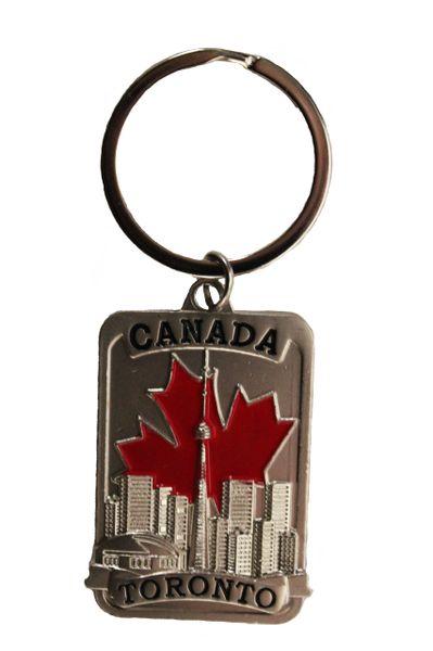 CANADA , RED MAPLE LEAF , TORONTO Skyline.. METAL KEYCHAIN .. Size : 1.2 x 2 Inch