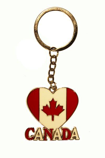 CANADA , Heart Shape Metal KEYCHAIN.... NEW