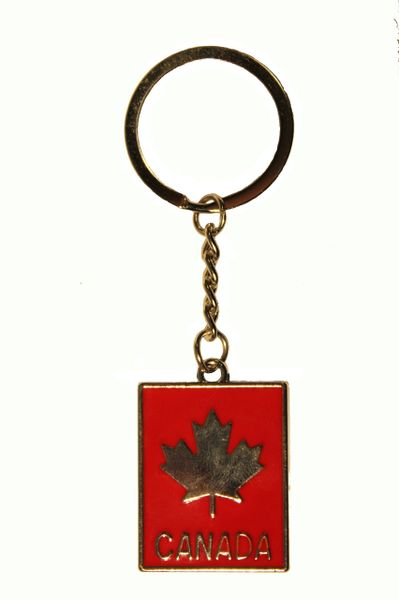 CANADA MAPLE LEAF,RED RECTANGLE KEYCHAIN...NEW