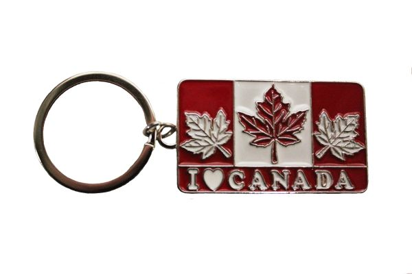 I - LOVE - CANADA with maple leafs FLAG Keychain...