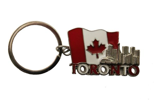 TORONTO SKYLINE, CANADA Country flag METAL KEYCHAIN