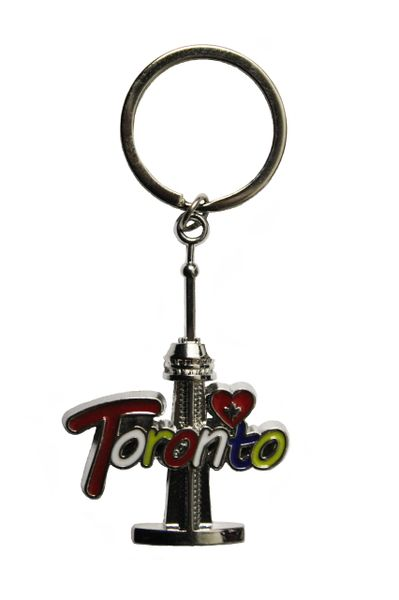 TORONTO CANADA CN TOWER With TITLE and HEART Metal KEYCHAIN...