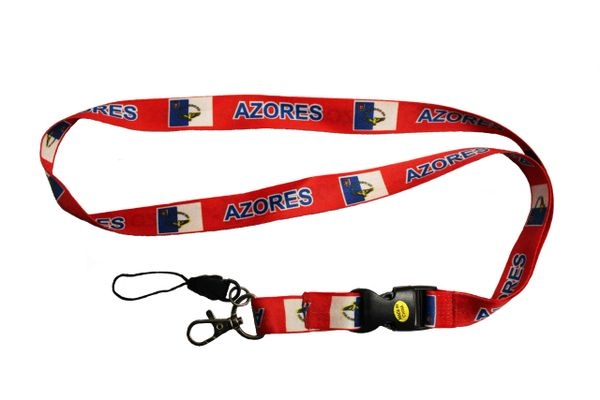 """AZORES/ACORES COUNTRY FLAG LANYARD KEYCHAIN PASSHOLDER NECK STRAP.. CLASP AT THE END .. 20"""" INCHES LONG .. HIGH QUALITY .. NEW"""