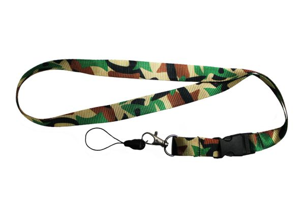 "CAMOUFLAGE LANYARD KEYCHAIN PASSHOLDER NECKSTRAP .. CLASP AT THE END .. 20"" INCHES LONG .. HIGH QUALITY .. NEW"