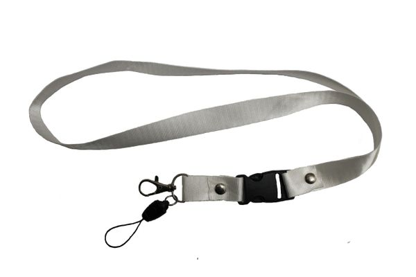 "WHITE LANYARD KEYCHAIN PASSHOLDER NECK STRAP .. CLASP AT THE END .. 20"" INCHES LONG .. HIGH QUALITY .. NEW"