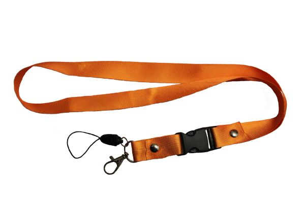 "ORANGE LANYARD KEYCHAIN PASSHOLDER NECK STRAP .. CLASP AT THE END .. 20"" INCHES LONG .. HIGH QUALITY .. NEW"