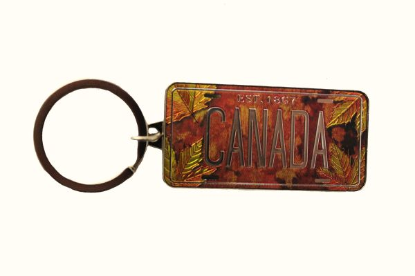"""Canada Est. 1867 Maple Leaves Metal Keychain Size : 2.4"""" X 1.1"""" Inch New"""