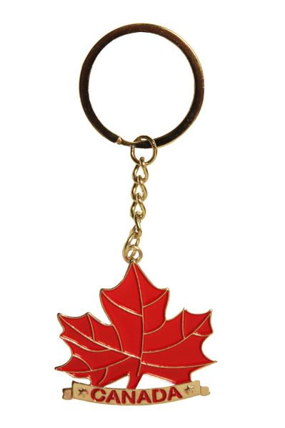 "CANADA , Red MAPLE LEAF Metal KEYCHAIN .. Size : 1.75"" x 1.75"" Inch"