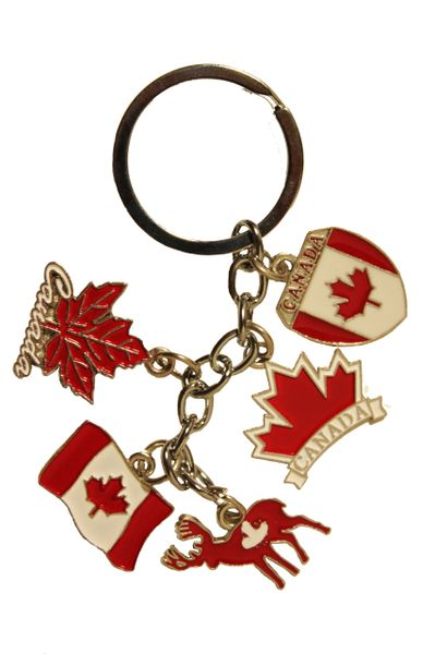 CANADA , MOOSE , MAPLE LEAVES .. - 5 Charms Metal KEYCHAIN