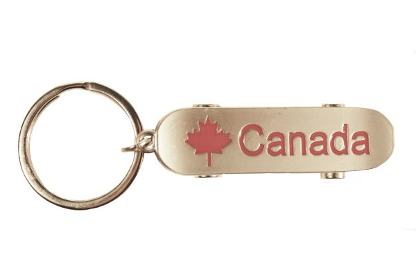 "CANADA , Red MAPLE LEAF , SKATEBOARD METAL KEYCHAIN ..Size : 2.5"" x 0.6"" Inch"