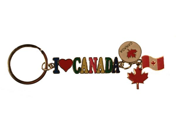 "I LOVE CANADA Cut-Off Letters With 3 Charms METAL KEYCHAIN ..Size : 3.5"" x 1.5"" Inch"