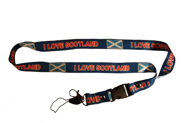 I LOVE SCOTLAND St. Andrew Cross Flag Blue LANYARD KEYCHAIN PASSHOLDER NECKSTRAP With CLASP At The End
