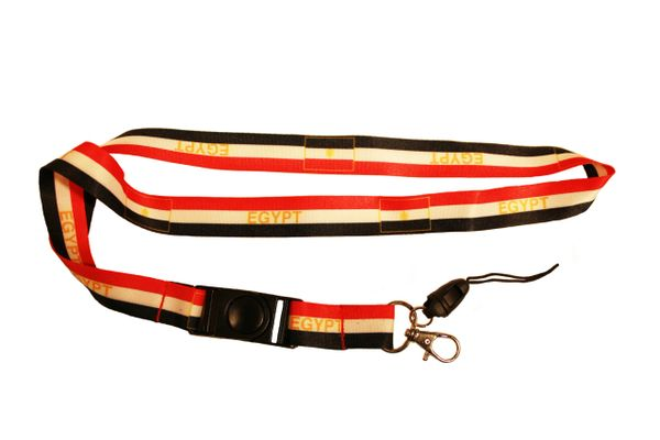 EGYPT Country Flag WHITE BACKGROUND LANYARD KEYCHAIN PASSHOLDER NECKSTRAP CLASP AT THE END