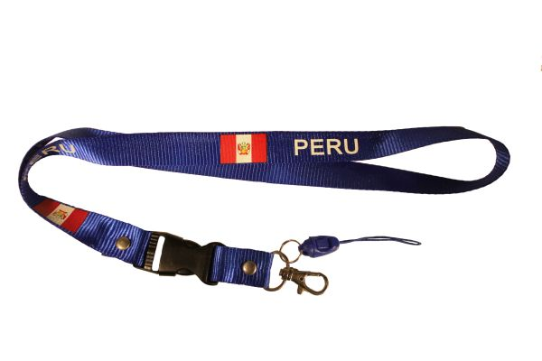 "PERU COUNTRY FLAG BLUE LANYARD KEYCHAIN PASSHOLDER NECKSTRAP .. CLASP AT THE END .. 20"" INCHES LONG .. HIGH QUALITY .. NEW"
