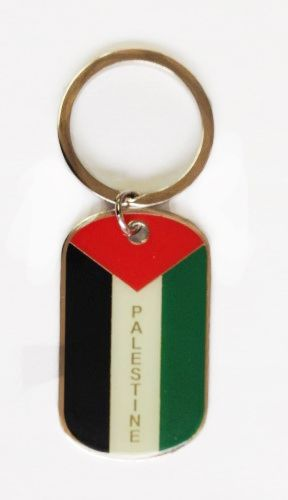 PALESTINE COUNTRY FLAG METAL KEYCHAIN .. NEW AND IN A PACKAGE
