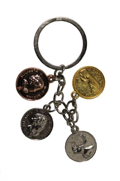 CANADA COIN Set Of 4 Charms : 1 CA$ , 25 , 5 Cents , Penny METAL KEYCHAIN