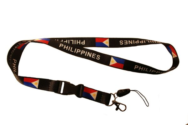 PHILIPPINES Country Flag BLACK LANYARD KEYCHAIN PASSHOLDER NECKSTRAP Clasp At The End
