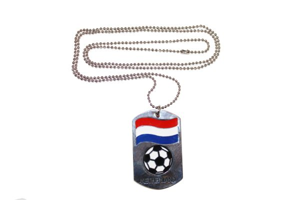 """NETHERLAND Country Flag , Soccer Ball DOG TAG Metal NECKLACE With 14"""" Inch CHAIN"""
