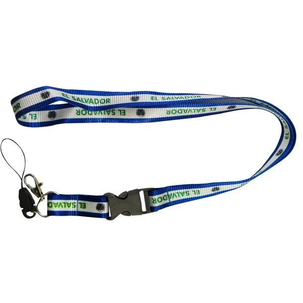 EL SALVADOR Country Flag LANYARD KEYCHAIN PASSHOLDER NECKSTRAP Clasp At The End