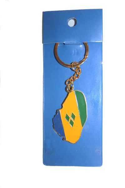 ST. VINCENT AND THE GRENADINES COUNTRY SHAPE FLAG METAL KEYCHAIN .. NEW AND IN A PACKAGE